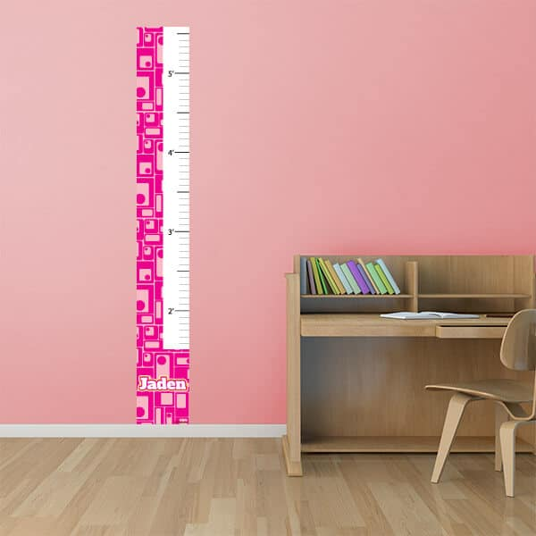 Retro Pink Squares Reusable Growth Chart