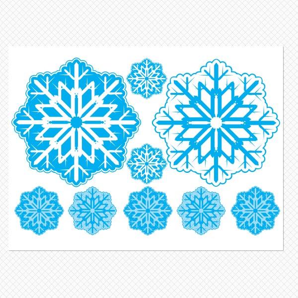 Printed Blue Snowflakes