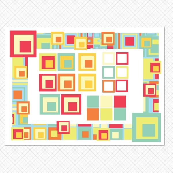 Printed Artsy Squares Sticker Frame