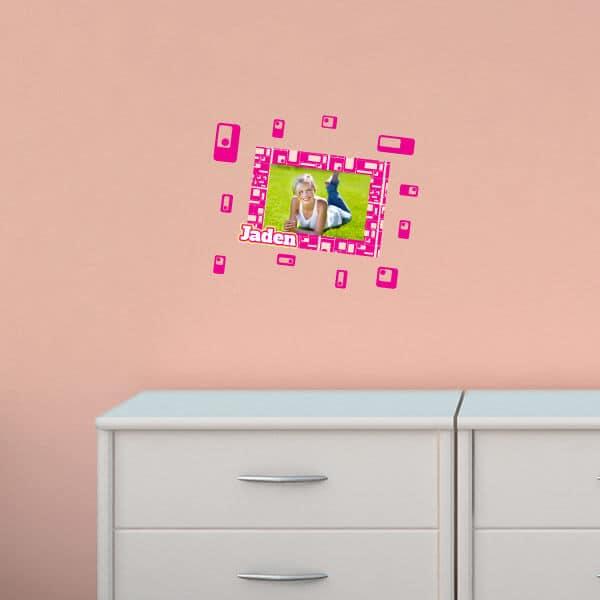 Pink Retro Squares Restickable Frame