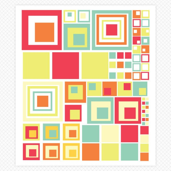 Artsy Squares Room Decor Sheet