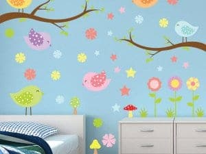 Patterned Birds Restickable Room Decor