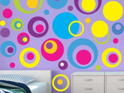 Bright Circles Repositionable Wall Graphics