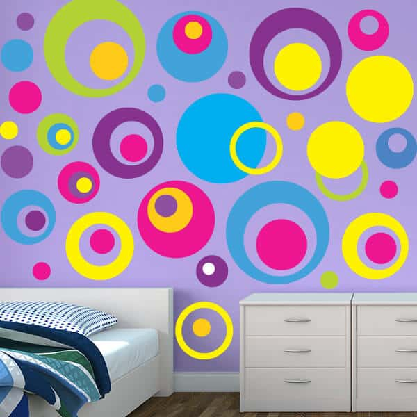 Circle Wall Stickers Circle Decals Kids Room Wall Stickers - Bedroom Decorating Themes