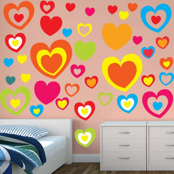 Bright Hearts Restickable Wall Graphics