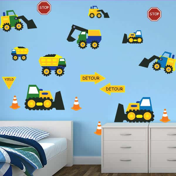 Construction themed wall decals wall decals for boys room for Construction themed bedroom ideas