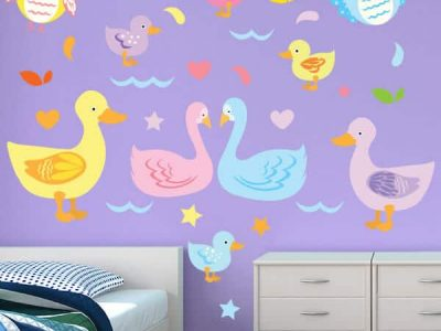 Diving Ducks Restickable Room Decor For Wall