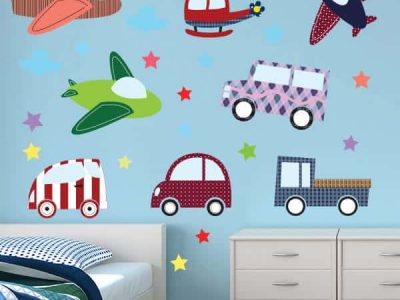 Planes and Automobile Restickable Wall Decor