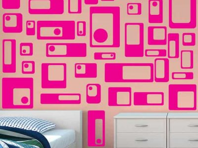 Pink Retro Squares Restickable Wall Decor