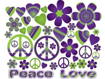 Hearts & Flowers Groovy Purple Wall Decor