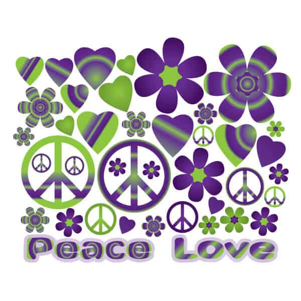 Groovy Purple Hearts & Flowers Wall Decor | Sticker Genius