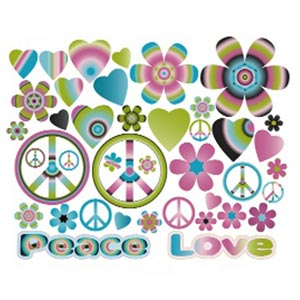 Hearts & Flowers Groovy Multi-Color Wall Decor