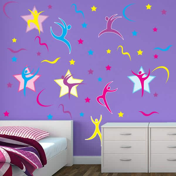 Gymnast Shapes Restickable Wall Decor