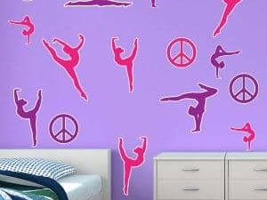 Gymnast 2 Color Silhouettes Restickable Wall Decor
