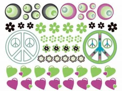 Hearts Flowers and Peace Wall Decor