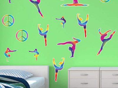 Tie Dye Gymnast & Peace Signs Restickables