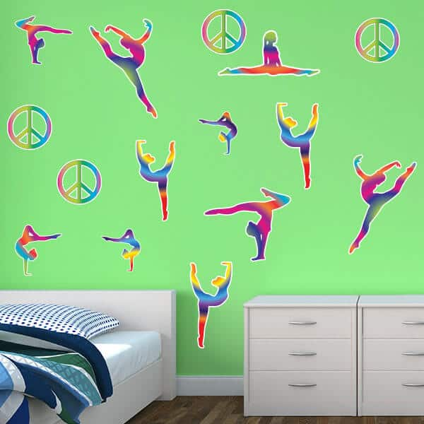 Peace Sign Bedroom Accessories: Tie Dye Gymnast Silhouettes & Peace Signs Room Theme