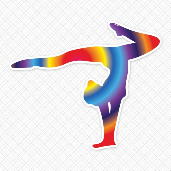 Rainbow Gymnast Restickable Silhouette Sticker Genius