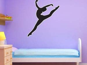 Restickable Black Gymnast Silhouette
