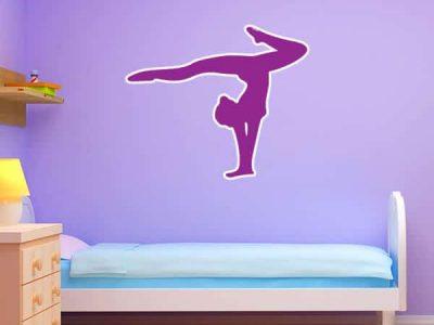 Purple Gymnast Handstand Silhouette