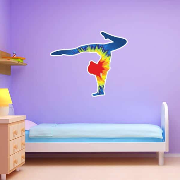 Tie Dye Explosion Gymnast Silhouette. Tie Dye Explosion Handstand Silhouette   Sticker Genius