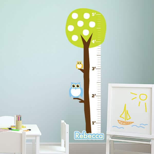 Owl Growth Chart Personalized Kids Growth Chart