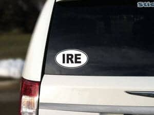 IRE Ireland Oval Car Sticker