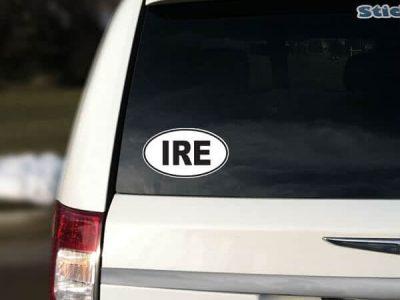 IRE Ireland Oval Car Sticker
