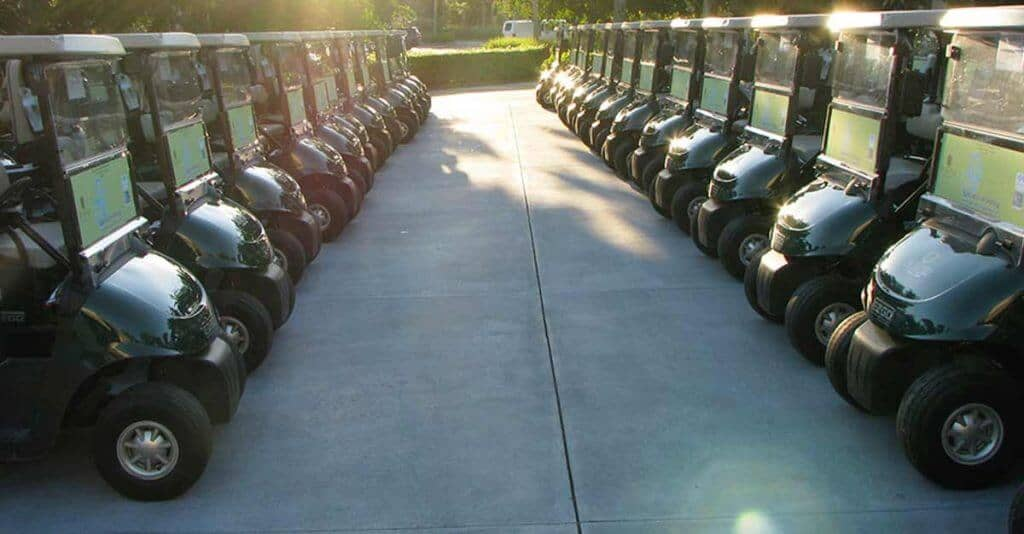 Golf Carts with Sponsor Stickers