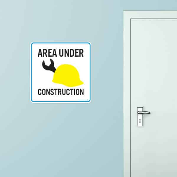 Area Under Construction Rounded Rectangle Wall Graphic