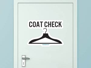 Coat Check Custom Door Graphic