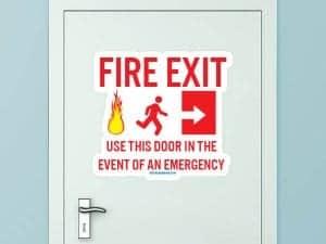 Fire Exit Custom Door Decal
