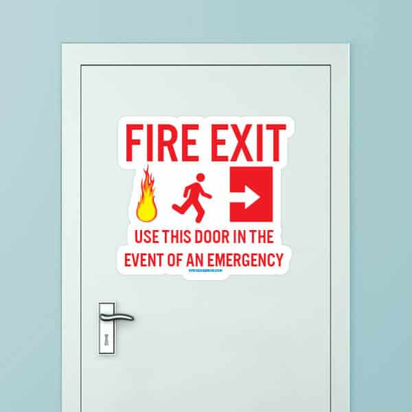 Fire Exit Custom Door Decal