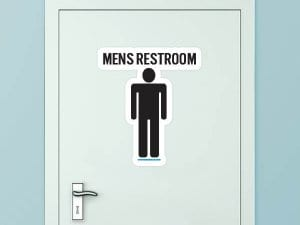 Men's Restroom Custom Door Graphic