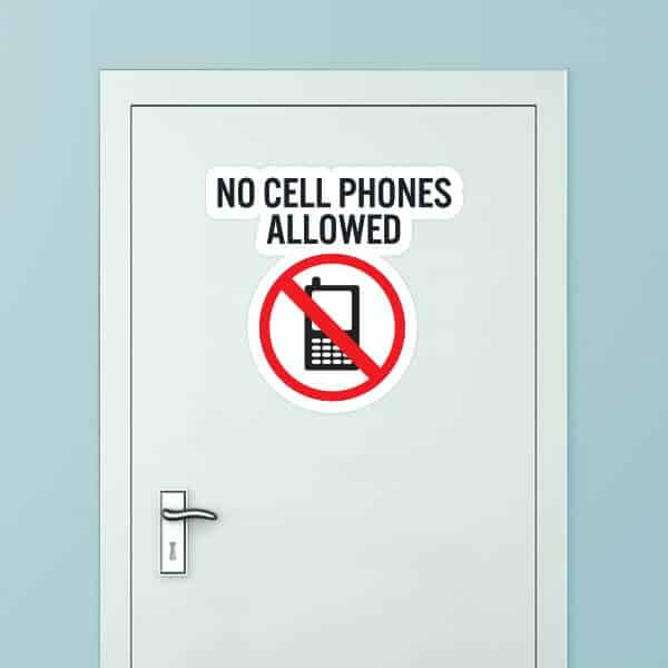 No Cell Phones Allowed Custom Door Graphic