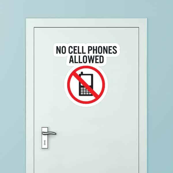 No Cell Phones Allowed Custom Door Graphic