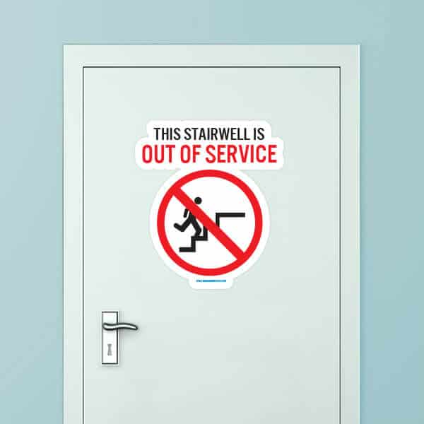 Stairwell Out Of Service Custom Door Graphic