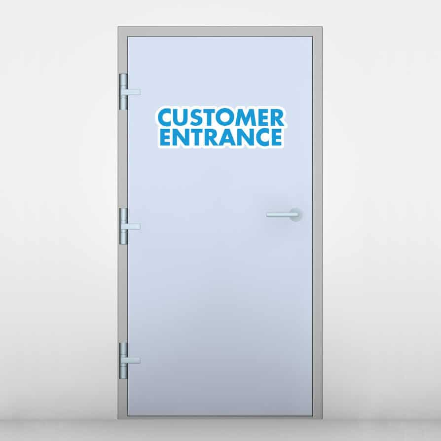 customer entrance signs custom door decals sticker genius