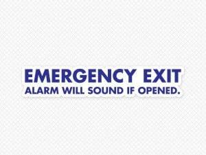 Emergency Exit Alarm Will Sound Door Graphic