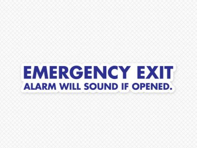 Emergency Exit Alarm Will Sound Door Graphic