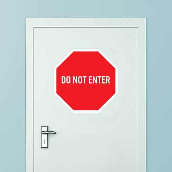 Stop Sign Do Not Enter Door Graphic | Sticker Genius