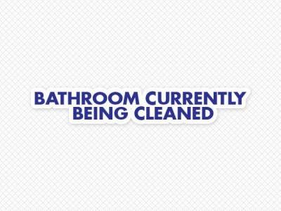 Bathroom Being Cleaned Door Graphic