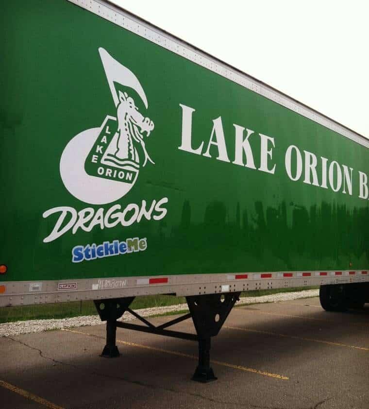 Lake Orion Dragon Restickable Trailer Stickers
