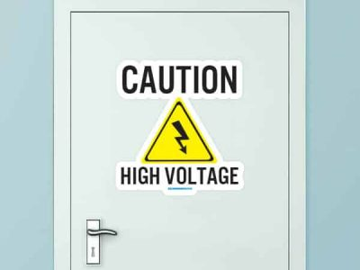 Caution High Voltage Custom Door Graphic