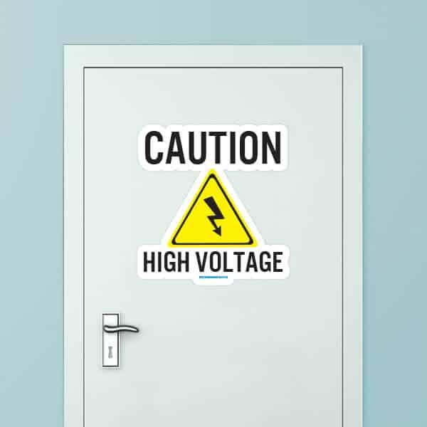 Caution High Voltage Custom Door Graphic