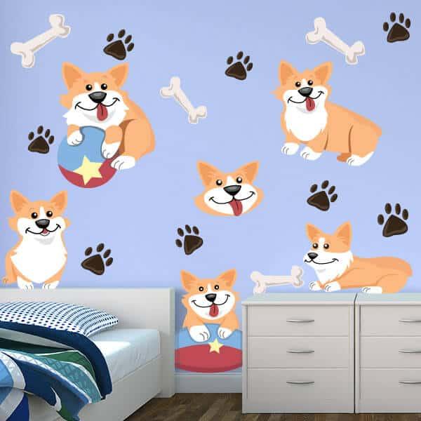 Corgi Wall Art   Cute Corgis Room Theme   Sticker Genius