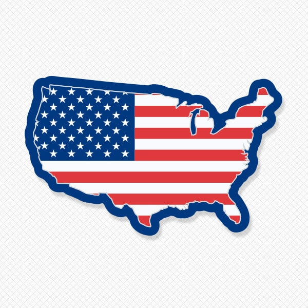 United States Silhouette Flag Sticker