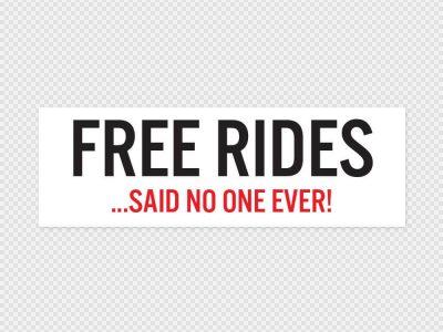 Free Rides Bumper Sticker Printed