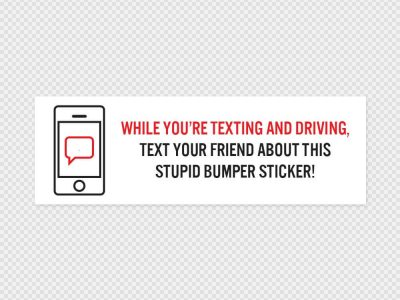 Texting And Driving Bumper Sticker Printed