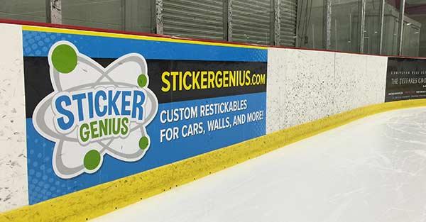 Hockey Dasher Board Advertising Sticker Genius